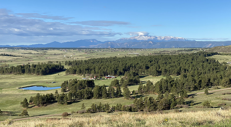 Ranch with Pikes Peak in the distance
